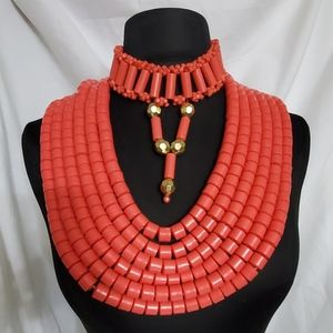 African/Nigerian Coral Beads  (7)Pieces